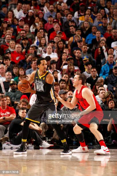 Shaun Livingston of the Golden State Warriors handles the ball against the Portland Trail Blazers on February 14 2018 at the Moda Center in Portland...