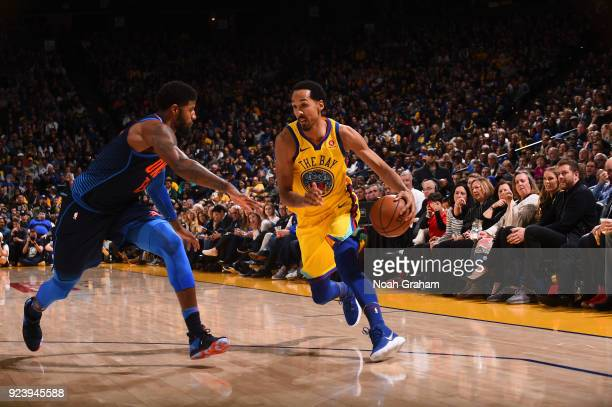 Shaun Livingston of the Golden State Warriors handles the ball against the Oklahoma City Thunder on February 24 2018 at ORACLE Arena in Oakland...