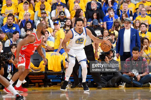 Shaun Livingston of the Golden State Warriors handles the ball against the Houston Rockets during Game Three of the Western Conference Finals during...