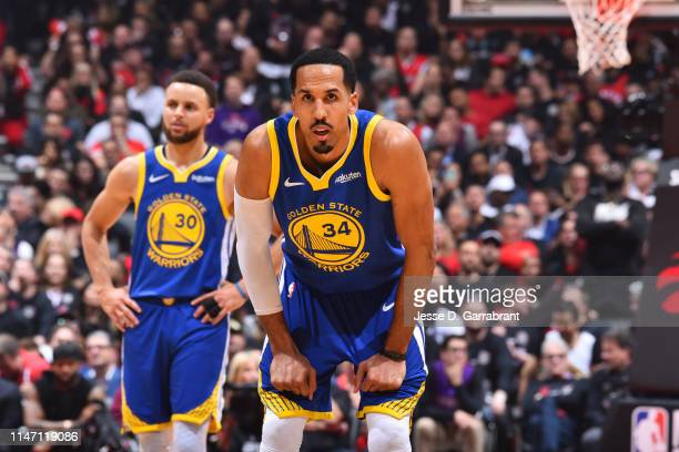 Shaun Livingston of the Golden State Warriors looks on during a game against the Toronto Raptors during Game One of the NBA Finals on May 30, 2019 at...