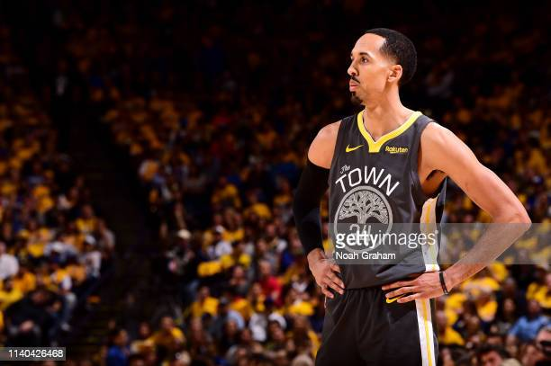 Shaun Livingston of the Golden State Warriors looks on during Game Two of the Western Conference Semifinals of the 2019 NBA Playoffs against the...