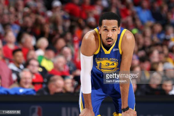 Shaun Livingston of the Golden State Warriors looks on during Game Four of the Western Conference Finals against the Portland Trail Blazers on May...