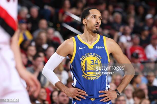 Shaun Livingston of the Golden State Warriors looks on during the game against the Portland Trail Blazers during Game Three of the Western Conference...