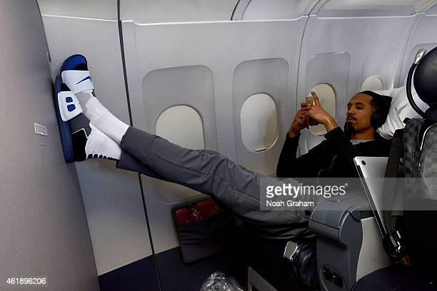 Shaun Livingston of the Golden State Warriors on the plane ride before the game against the Utah Jazz on January 13 2015 in Salt Lake City Utah NOTE...