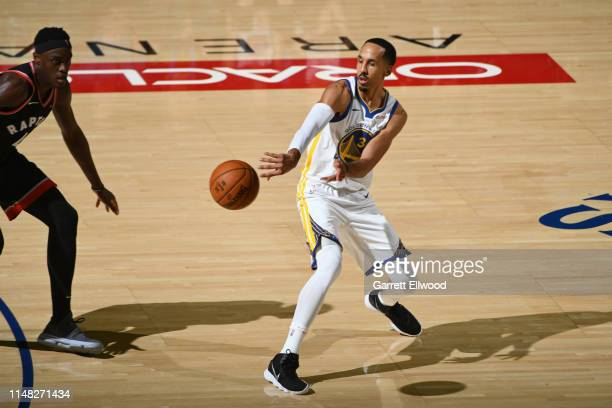 Shaun Livingston of the Golden State Warriors passes the ball against the Toronto Raptors during Game Three of the NBA Finals on June 5, 2019 at...