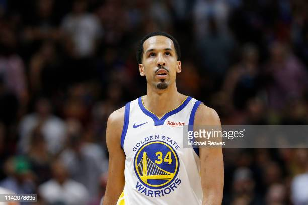 Shaun Livingston of the Golden State Warriors reacts against the Miami Heat at American Airlines Arena on February 27, 2019 in Miami, Florida. NOTE...