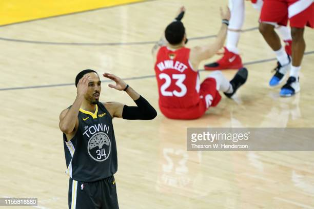 Shaun Livingston of the Golden State Warriors reacts against the Toronto Raptors in the second half during Game Six of the 2019 NBA Finals at ORACLE...