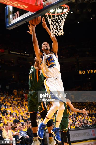 Shaun Livingston of the Golden State Warriors shoots a lay up during the game against the Utah Jazz during Game One of the Western Conference...