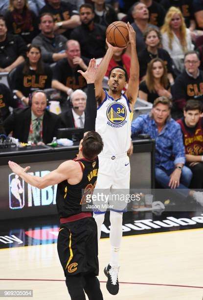 Shaun Livingston of the Golden State Warriors shoots against Kyle Korver of the Cleveland Cavaliers during Game Three of the 2018 NBA Finals at...