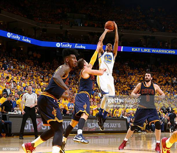Shaun Livingston of the Golden State Warriors shoots the ball against the Cleveland Cavaliers in Game One of the 2016 NBA Finals on June 2 2016 at...