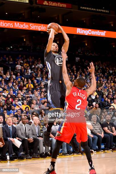 Shaun Livingston of the Golden State Warriors shoots the ball against the New Orleans Pelicans on April 8 2017 at ORACLE Arena in Oakland California...