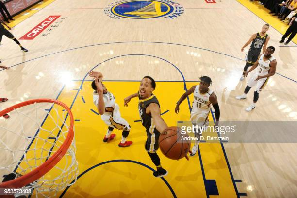 Shaun Livingston of the Golden State Warriors shoots the ball against the New Orleans Pelicans in Game Two of Round Two of the 2018 NBA Playoffs on...