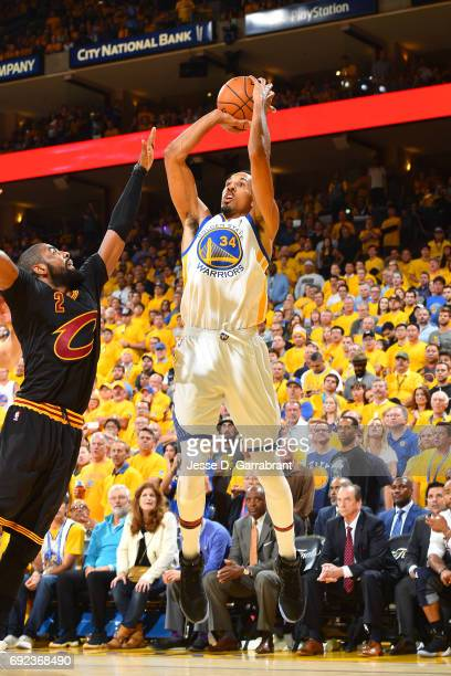 Shaun Livingston of the Golden State Warriors shoots the ball during the game against the Cleveland Cavaliers during Game Two of the 2017 NBA Finals...