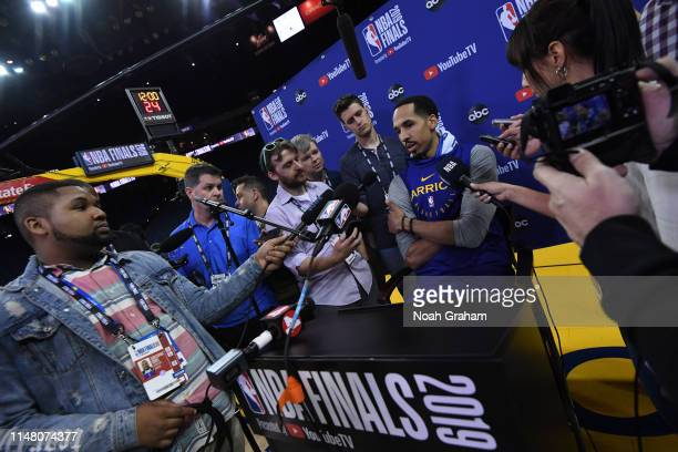 Shaun Livingston of the Golden State Warriors speaks to the media during practice and media availability as part of the 2019 NBA Finals on June 4...