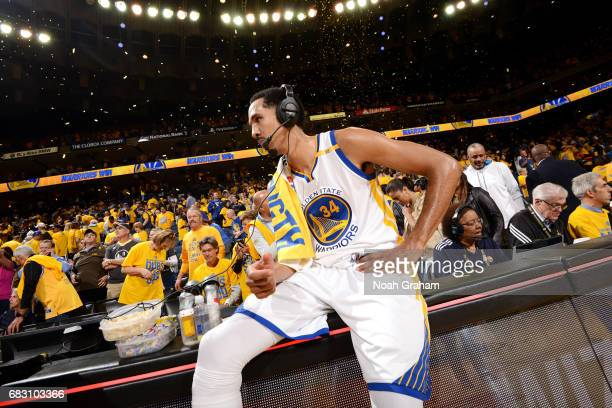 Shaun Livingston of the Golden State Warriors talks with the media after the game against the San Antonio Spurs during Game One of the Western...