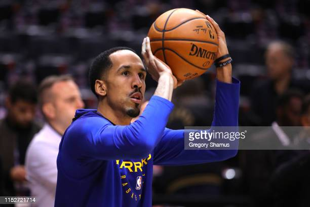 Shaun Livingston of the Golden State Warriors warms up before Game One of the 2019 NBA Finals against the Toronto Raptors at Scotiabank Arena on May...