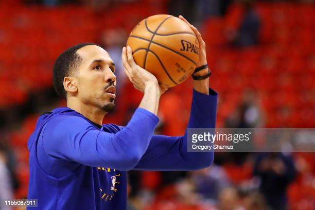 Shaun Livingston of the Golden State Warriors warms up prior to Game Five of the 2019 NBA Finals against the Toronto Raptors at Scotiabank Arena on...