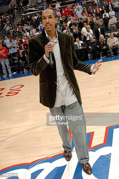 Shaun Livingston of the Los Angeles Clippers says a few words to the crowd after introductions before the game against the New Orleans/Oklahoma City...