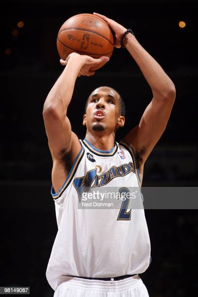 Shaun Livingston of the Washington Wizards shoots a free throw against the Atlanta Hawks during the game on March 11 2010 at the Verizon Center in...