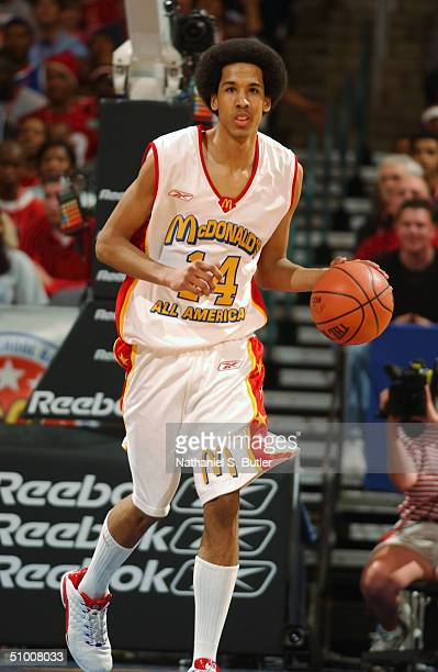 Shaun Livingston of the West moves the ball up court during the 2004 McDonald's High School All-American Game at Ford Center on May 31, 2004 in...