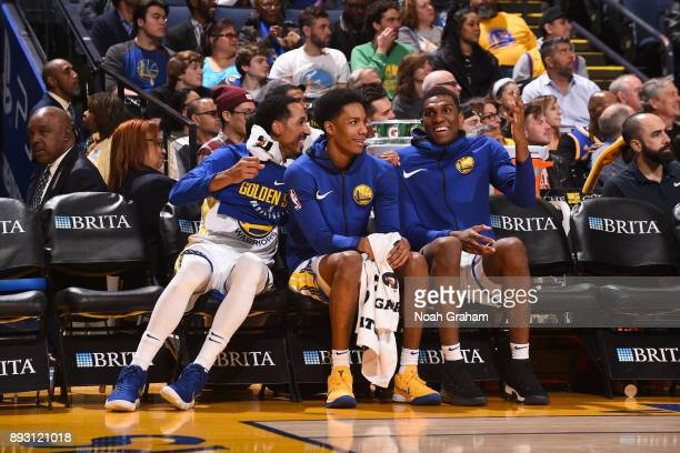 Shaun Livingston Patrick McCaw and Kevon Looney of the Golden State Warriors during the game against the Portland Trail Blazers on December 11 2017...