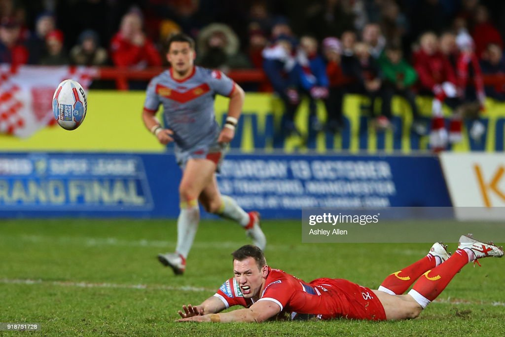 Shaun Lunt of Hull KR fumbles the ball during the BetFred Super League match between Hull KR and Catalans Dragons at KCOM Craven Park on February 15, 2018 in Hull, England.