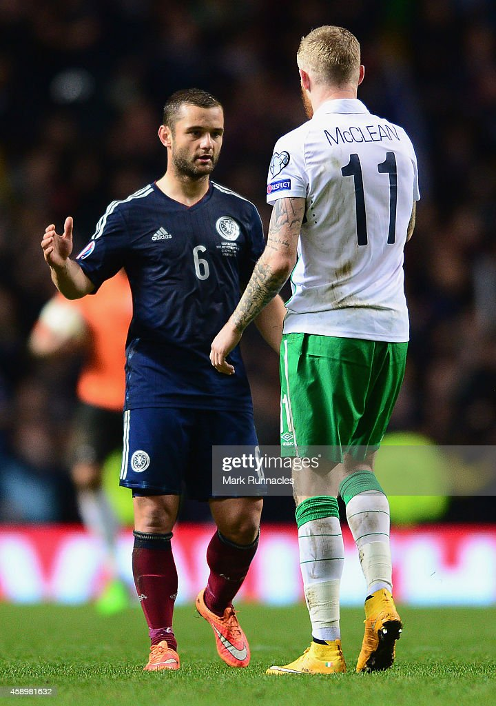 Shaun Maloney of Scotland and James McClean of the Republic of Ireland shake hands after the EURO 2016 Group D Qualifier match between Scotland and Republic of Ireland at Celtic Park on November 14, 2014 in Glasgow, Scotland.