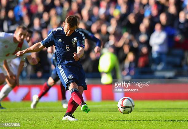Shaun Maloney of Scotland scores the opening goal from the penalty spot during the EURO 2016 Qualifier match between Scotland and Gibraltar at...