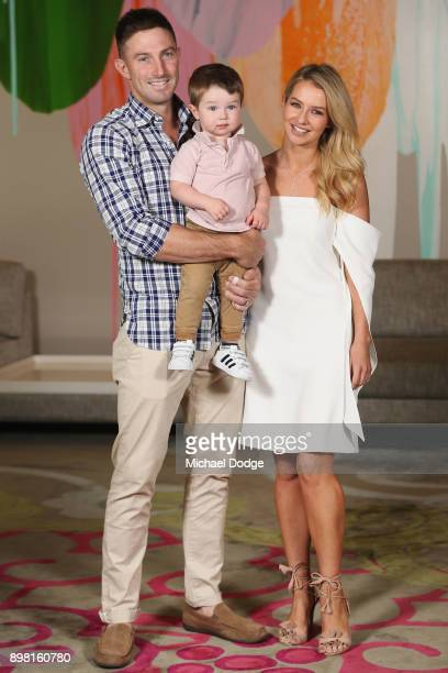 Shaun Marsh and Bec Marsh pose with son Austin at Crown Metropol after the Australian nets session on December 25 2017 in Melbourne Australia