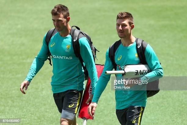 Shaun Marsh and Cameron Bancroft arrive for an Australia training session at The Gabba on November 20 2017 in Brisbane Australia