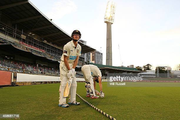 Shaun Marsh and Cameron Bancroft of the Warriors enter the field after the break during Day Two of the Sheffield Shield match between Western...