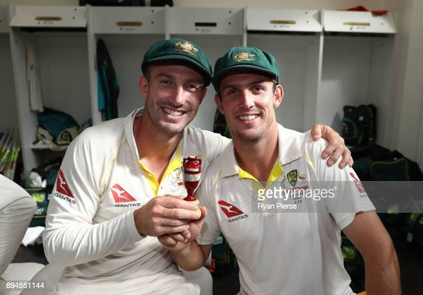 Shaun Marsh and Mitch Marsh of Australia celebrate in the changerooms after Australia regained the Ashes during day five of the Third Test match...
