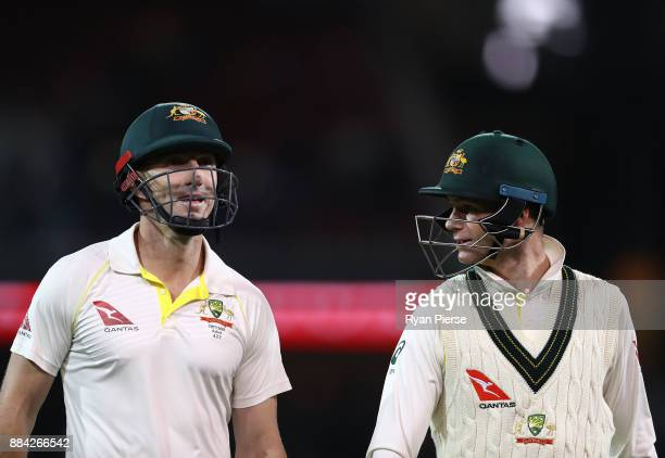 Shaun Marsh and Peter Handscomb of Australia leave the ground at stumps during day one of the Second Test match during the 2017/18 Ashes Series...