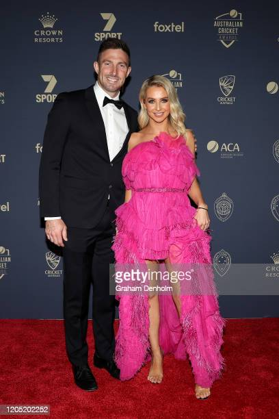 Shaun Marsh and wife Rebecca Marsh arrives ahead of the 2020 Cricket Australia Awards at Crown Palladium on February 10 2020 in Melbourne Australia