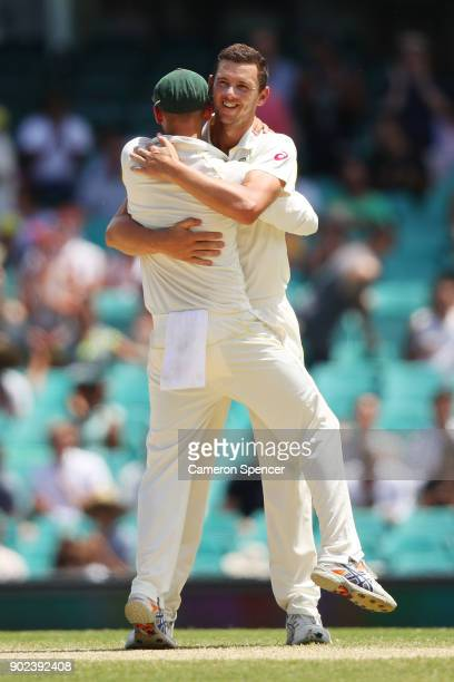 Shaun Marsh of Australia and Josh Hazlewood of Australia celebrate winning the fifth test and series during day five of the Fifth Test match in the...