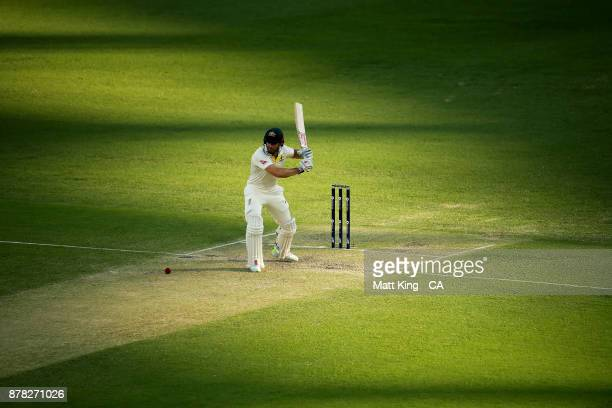 Shaun Marsh of Australia bats during day two of the First Test Match of the 2017/18 Ashes Series between Australia and England at The Gabba on...