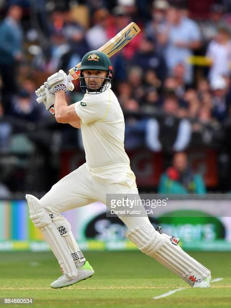 Shaun Marsh of Australia bats during day two of the Second Test match during the 2017/18 Ashes Series between Australia and England at Adelaide Oval...