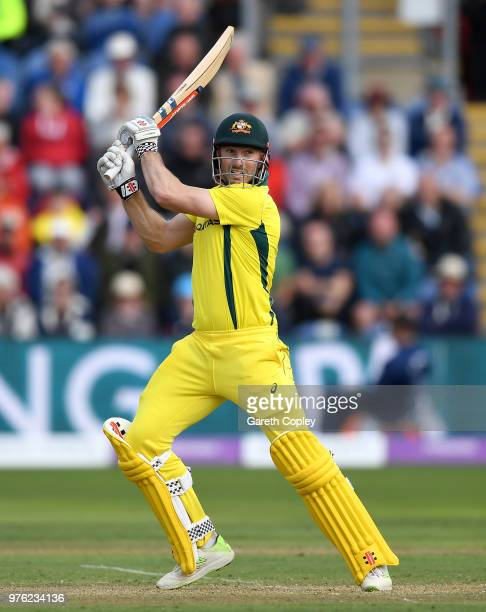 Shaun Marsh of Australia bats during the 2nd Royal London ODI between England and Australia at SWALEC Stadium on June 16 2018 in Cardiff Wales