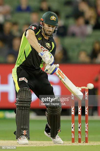 Shaun Marsh of Australia bats during the International Twenty20 match between Australia and India at Melbourne Cricket Ground on January 29, 2016 in...