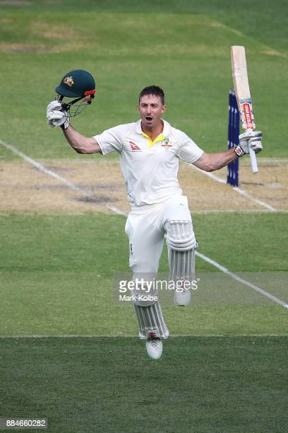 Shaun Marsh of Australia celebrates his century during day two of the Second Test match during the 2017/18 Ashes Series between Australia and England...