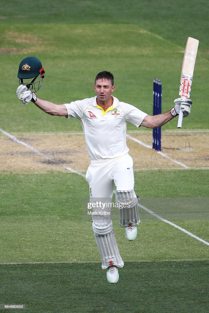 Shaun Marsh of Australia celebrates his century during day two of the Second Test match during the 2017/18 Ashes Series between Australia and England at Adelaide Oval on December 3, 2017 in Adelaide, Australia.