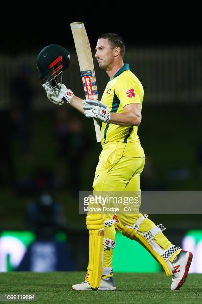 Shaun Marsh of Australia celebrates his century during game three of the One Day International series between Australia and South Africa at...