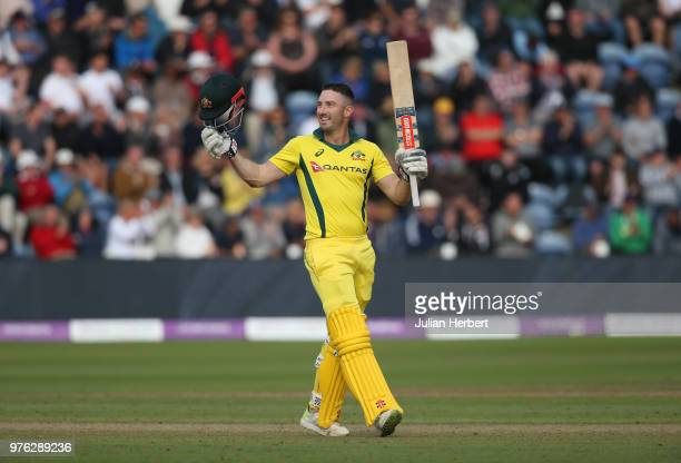 Shaun Marsh of Australia celebrates his century during the 2nd Royal London ODI match between England and Australia at SWALEC Stadium on June 16 2018...