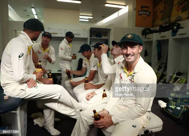 Shaun Marsh of Australia celebrates in the changerooms after Australia regained the Ashes during day five of the Third Test match during the 2017/18...