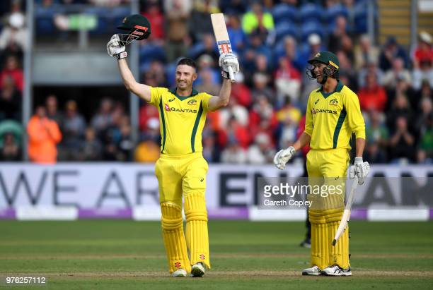 Shaun Marsh of Australia celebrates reaching his century with teammate Ashton Agar during the 2nd Royal London ODI between England and Australia at...