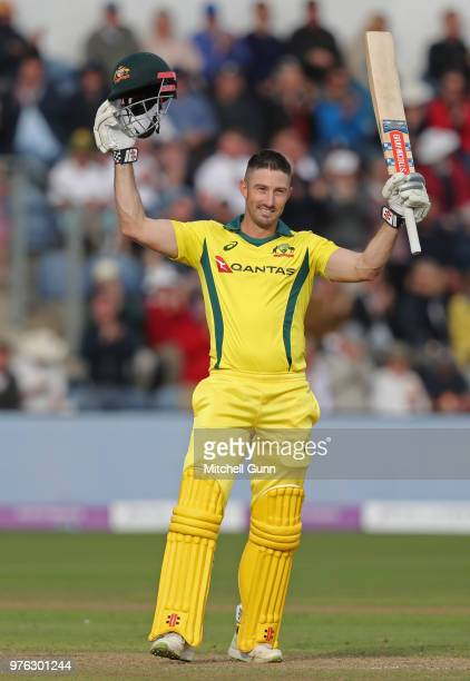 Shaun Marsh of Australia celebrates scoring a century during the 2nd Royal London One day International match between England and Australia at Sophia...