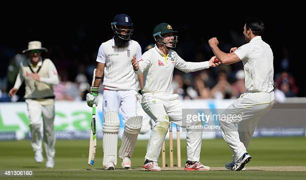 Shaun Marsh of Australia celebrates with Mitchell Johnson after catching out Moeen Ali of England during day four of the 2nd Investec Ashes Test...