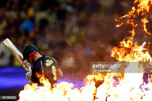Shaun Marsh of Australia enters the field of play during the International Twenty20 match between Australia and India at Melbourne Cricket Ground on...