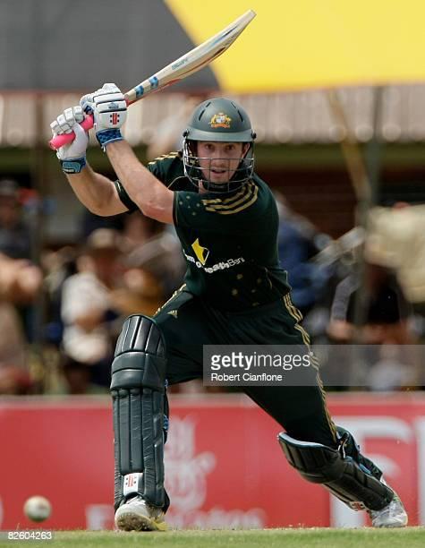 Shaun Marsh of Australia hits one away during the first one day international match between Australia and Bangladesh held at TIO Stadium August 30,...