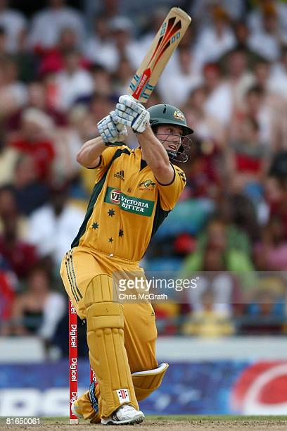 Shaun Marsh of Australia hits out during the Twenty20 International between the West Indies and Australia at Kensington Oval on June 20 2008 in...
